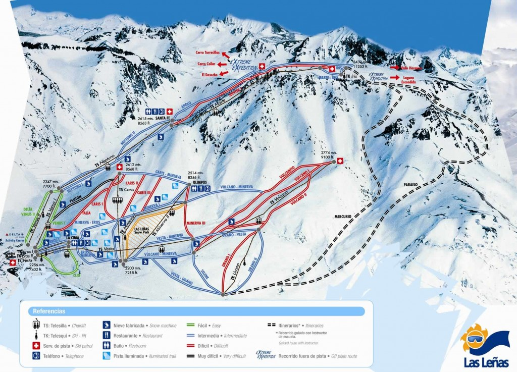 las_lenas_ski_area_trail_map